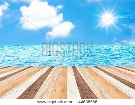 Sunny Day With Blue Sky At Sea On Wooden Pier