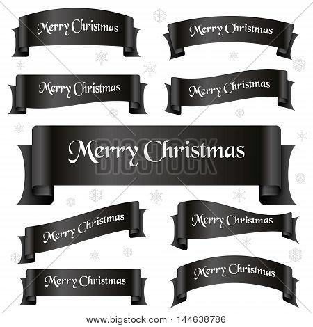 Black Shiny Color Merry Christmas Slogan Curved Ribbon Banners Eps10