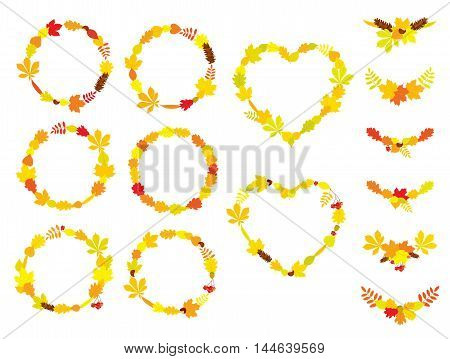 Vector set of round and heart shape wreaths, compositions of different autumn tree leaves, Rowan berry bunches, acorns, chestnuts and pine cones, isolated on white background. Frames for design.