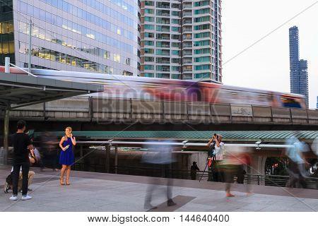 BANGKOK THAILAND - DECEMBER 21: Bangkok's city life with BTS skytrain on December 21 2015 in Bangkok Thailand.