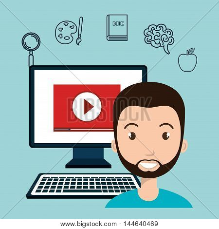 student elearning education icon vector illustration design