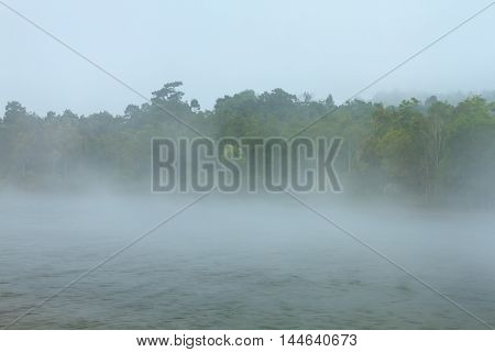 Mist at the reservoir in Khao Yai national park (a unesco world heritage site) Thailand.