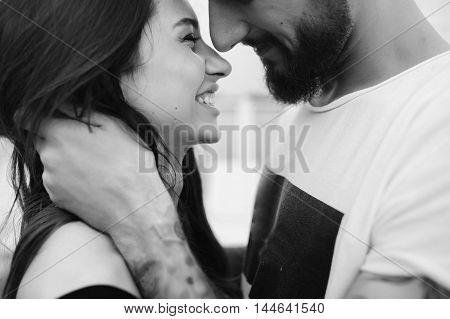 beautiful couple close-angle pose for the camera
