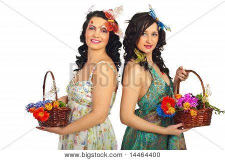 Beautiful Spring Women Holding Flowers