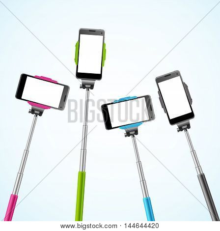 Trendy Color Monopods Template for Selfie. Vector illustration