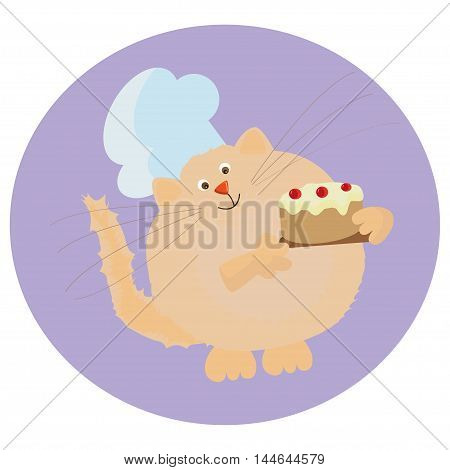 cute cartoon chef red color with a cake in hand. Profession.Cook. Red cat. Learning card.Vector for design