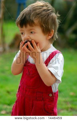 Child Enjoying Chocolate Cake.