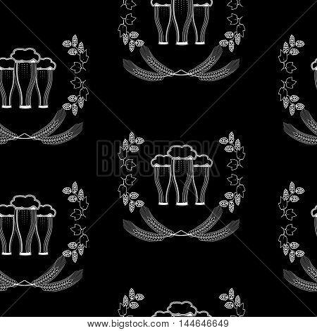 Three glasses of beer, barley, hops, Oktoberfest, seamless pattern, on black background.