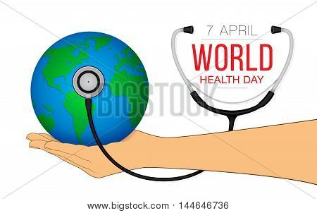 World health day concept with globe in hand.