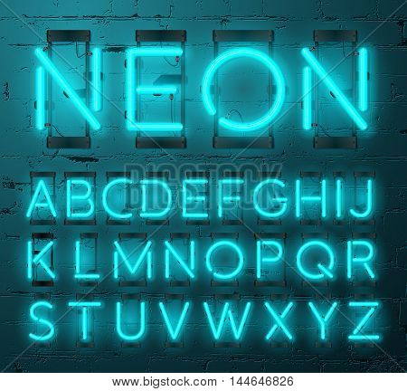 Neon Light Alphabet Vector Font. Type letters. Neon tube letters on Brick wall background
