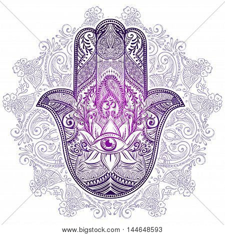 Hand drawn Ornate amulet Hamsa Hand of Fatima. Ethnic amulet common in Indian Arabic and Jewish cultures.