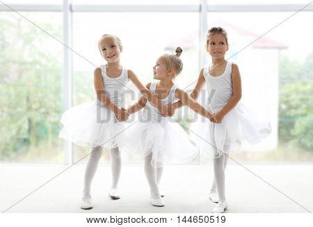 Cute girls practicing ballet in class