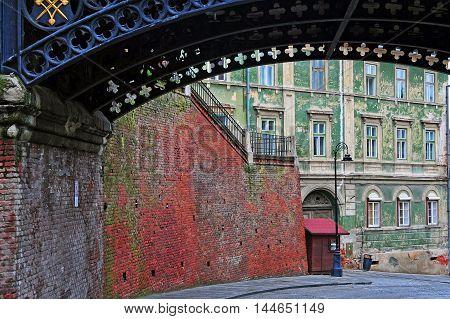 Liars bridge and cityscape of Sibiu town Transylvania Romania