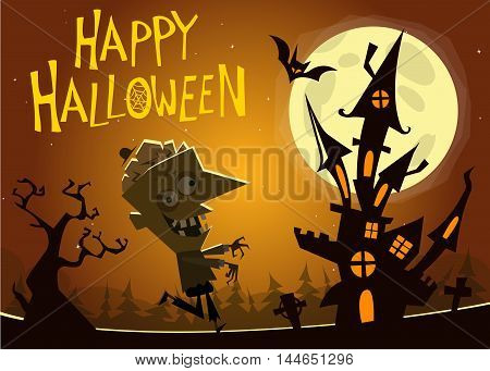 Haunted house background with a walking zombie. Vector elements: walking dead zombie cemetery tombstone