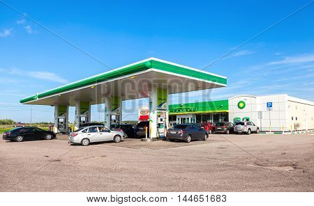 NOVGOROD REGION RUSSIA - JULY 31 2016: BP - British Petroleum gas station in summer day. British Petroleum is a British multinational oil and gas company