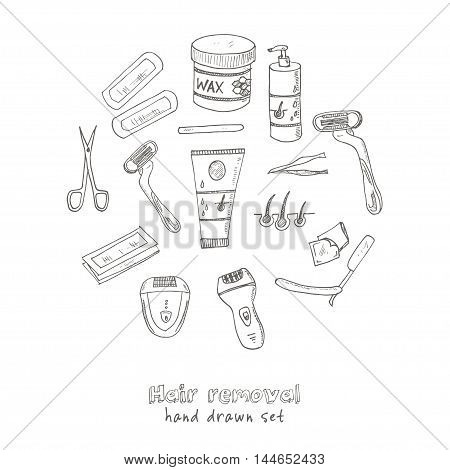 Doodle Set of hair removal tools Vector illustration