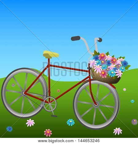Bicycle with basket of colorful flowers on a green hillside meadow, vector illustration