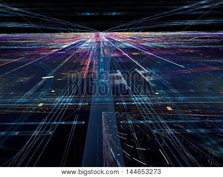 Abstract digitally generated tecnology backdrop with randomly spaced straight lines, horizon, perspective and light effects