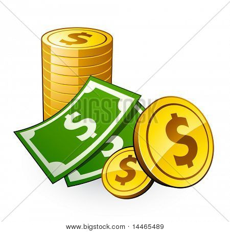 pile of coins with dollar