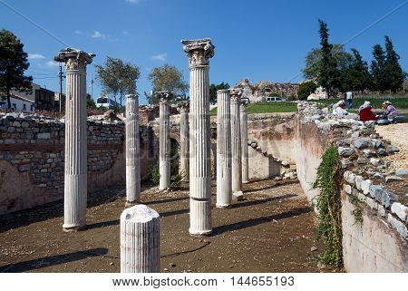 SELCUK, TURKEY - SEPTEMBER 29, 2014: Ancient greek columns in the middle of the Town