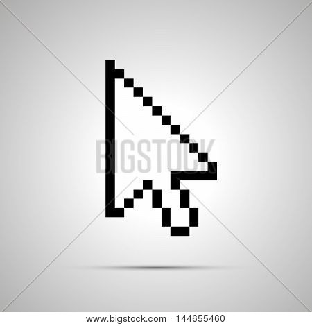 White pixelated computer arrow cursor simple icon with shadow
