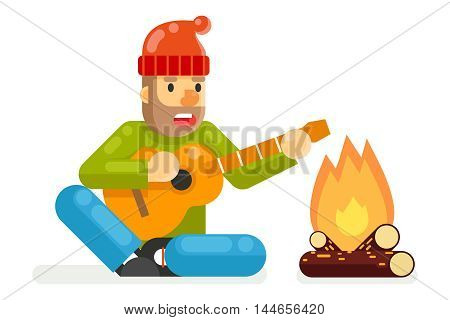 Traveler Sings Plays Guitar Campfire Flat and Design isolated Template Vector Illustration