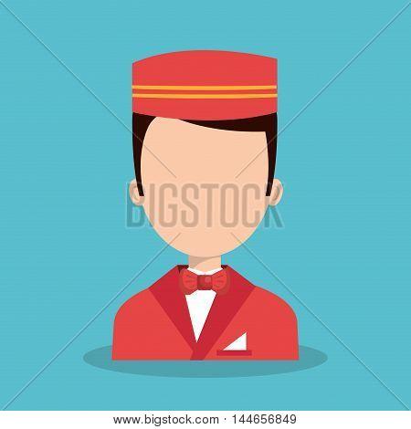 hotel worker bellboys icon vector illustration design