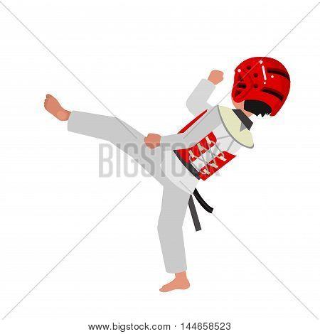 Cute vector character child. Illustration for martial art poster. Kid wearing kimono and taekwondo training