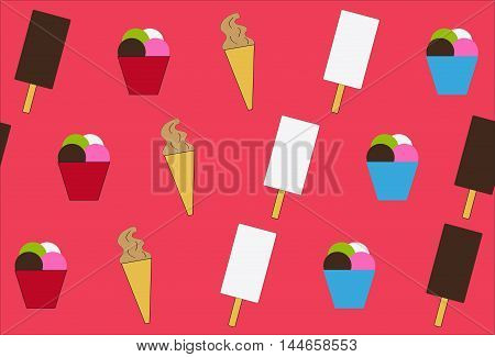 Set of ice-cream on red background, vector illustration