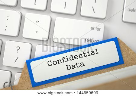 Blue File Card with Inscription Confidential Data Lays on Modern Laptop Keyboard. Closeup View. Blurred Image. 3D Rendering.