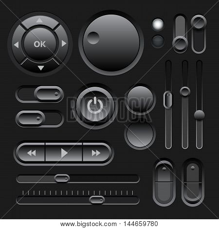 Black Web UI Elements Design with Buttons, Switches, Sliders. Vector illustration