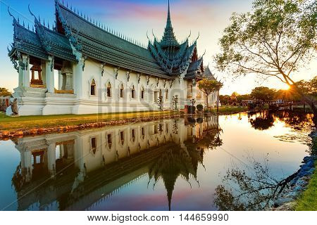 Sanphet Prasat Palace in Thailand in the Evening