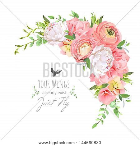 Delicate floral vector frame with bright ranunculus peony rose carnation green plants on white. Pink and white flowers. Crescent shape bouquet. All elements are isolated and editable.