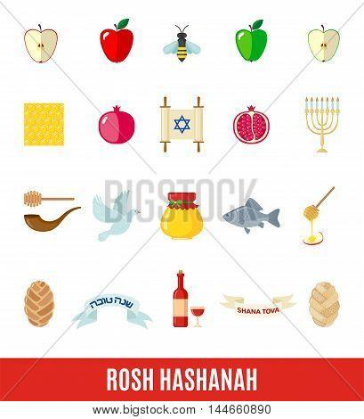 Set of Rosh Hashanah icons in flat style isolated on white background. Shana Tova or Jewish New year symbols. Vector illustration.