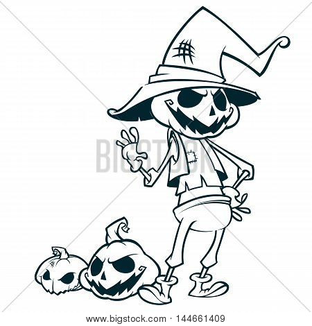 Halloween pumpkin head scarecrow outlines vector postcard for Halloween holiday