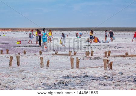 Genichesk Region/Ukraine - August 13,2016: People gathering salt, brine and mud of pink salty Sivash Lake near Azov Sea, colored by microalgae Dunaliella salina, famous for its antioxidant properties and enriching water of the lake by beta-carotene, used