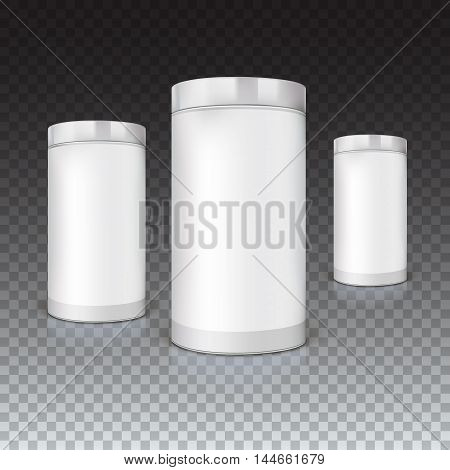Set of round tins, packaging on trasparent background. Container cylindrical shaped, vector illustration.