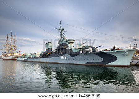 GDYNIA, POLAND - APRIL 8, 2016: Polish destroyer