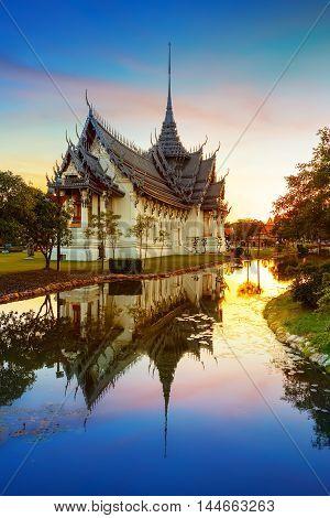 Sanphet Prasat Palace in Thailand in the Evening