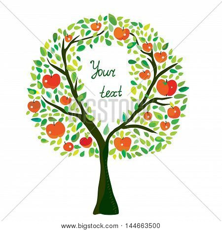 Apple tree illustration with frame vector graphic hand drawn design