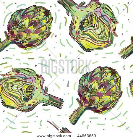 Artichoke seamless pattern - hand drawn vector illustration design