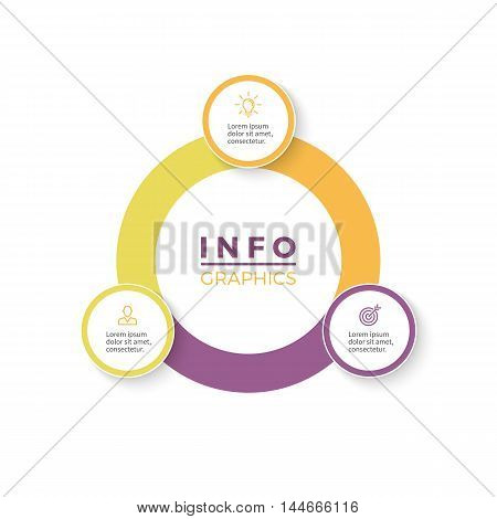 Three steps infographics. Diagram with 3 parts. Vector design element.