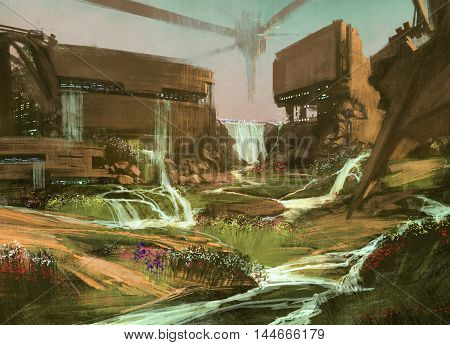 landscape with sci-fi buildings, illustration, digital painting