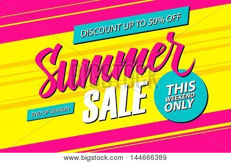 Summer Sale. This weekend special offer banner, discount 50% off. End of season. Vector illustration.