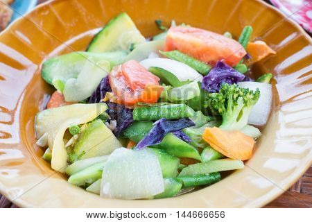 Stir-fried mix colorful vegetables and herb , Thai food