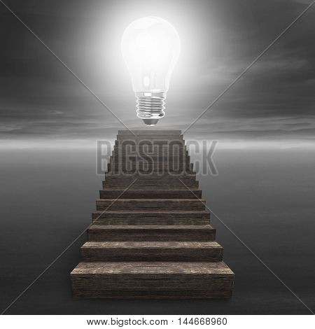 Glowing Bulb On Top Of Old Wooden Stairs