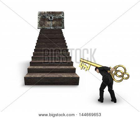 Man Carrying Pound Symbol Key Toward Treasure Chest