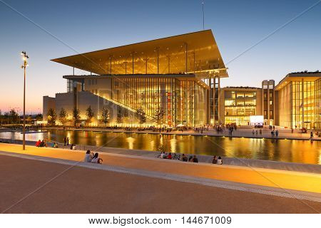 View of Stavros Niarchos Foundation Cultural Center in city of Athens. poster