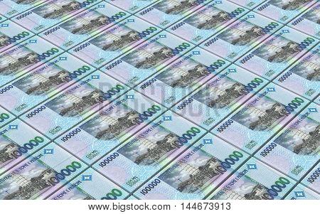 St. Thomas dobras bills stacks background. 3D illustration.