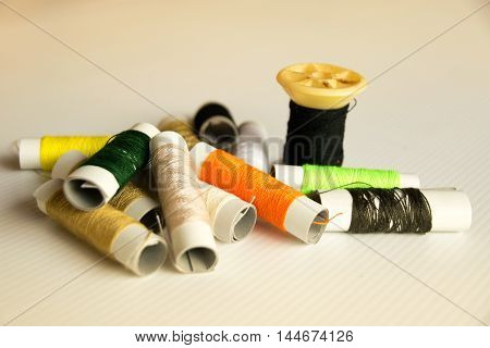 Close up Reel and thread pile (retro style)